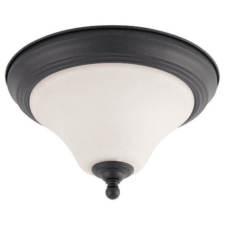 (2 Light) Flush Mount Ceiling Fixture - Dark Chocolate Bronze / Satin White Glass - Nuvo Lighting 60-1845 - Residential Light Fixture