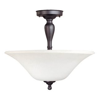 (3 Light) Semi-Flush Ceiling Fixture - Dark Chocolate Bronze / Satin White Glass - Nuvo Lighting 60-1847 - Residential Light Fixture