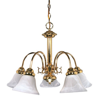 (5 Light) Chandelier - Polished Brass / Alabaster Glass Bell Shades - Nuvo Lighting 60-185