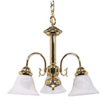 (3 Light) Chandelier - Polished Brass / Alabaster Glass Bell Shades - Nuvo Lighting 60-186