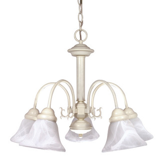 (5 Light) Chandelier - Textured White / Alabaster Glass Bell Shades - Nuvo Lighting 60-187 - residential fixture