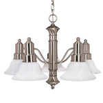 (5 Light) Chandelier - Brushed Nickel / Alabaster Glass Bell Shades - Nuvo Lighting 60-189