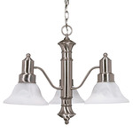 (3 Light) Chandelier - Brushed Nickel / Alabaster Glass Bell Shades - Nuvo Lighting 60-190