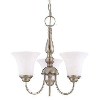 (3 CFL) Chandelier - Brushed Nickel / Satin White Glass - Energy Star Qualified - Nuvo Lighting 60-1901