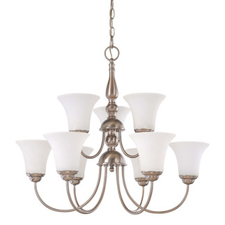 (9 CFL) (2 Tier) Chandelier - Brushed Nickel / Satin White Glass - Energy Star Qualified - Nuvo Lighting 60-1903