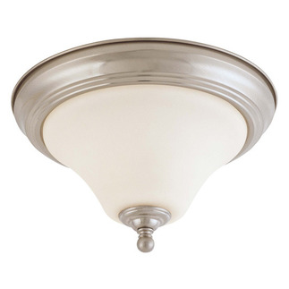 (1 CFL) Flush Mount Ceiling Fixture - Satin Brushed Nickel / White Glass - Energy Star Qualified - Nuvo Lighting 60-1904