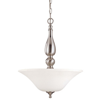(3 CFL) Pendant - Brushed Nickel / Satin White Glass - Energy Star Qualified - Nuvo Lighting 60-1908