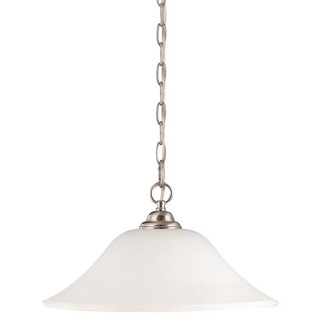 (1 CFL) Hanging Dome - Brushed Nickel / Satin White Glass - Energy Star Qualified - Nuvo Lighting 60-1909