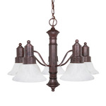 (5 Light) Chandelier - Old Bronze / Alabaster Glass Bell Shades - Nuvo Lighting 60-191