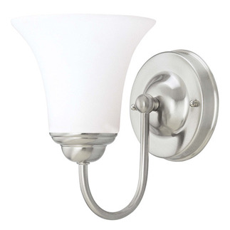 (1 CFL) Vanity - Brushed Nickel / Satin White Glass - Energy Star Qualified - Nuvo Lighting 60-1912