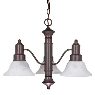 (3 Light) Chandelier - Old Bronze / Alabaster Glass Bell Shades - Nuvo Lighting 60-192