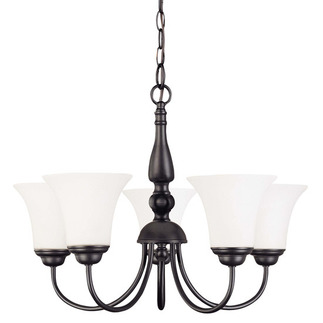 (5 CFL) Chandelier - Dark Chocolate Bronze / Satin White Glass - Energy Star Qualified - Nuvo Lighting 60-1922