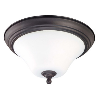 (2 CFL) Flush Mount Ceiling Fixture - Dark Chocolate Bronze / Satin White Glass - Energy Star Qualified - Nuvo Lighting 60-1926