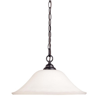 (1 CFL) Hanging Dome - Dark Chocolate Bronze / Satin White Glass - Energy Star Qualified - Nuvo Lighting 60-1929 - Residential Light Fixture
