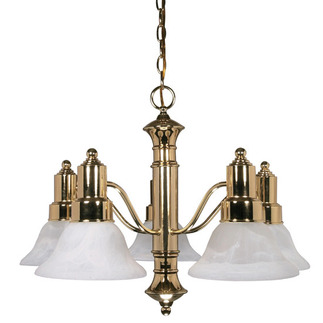 (5 Light) Chandelier - Polished Brass / Alabaster Glass Bell Shades - Nuvo Lighting 60-193