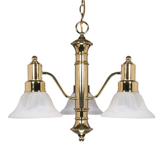 (3 Light) Chandelier - Polished Brass / Alabaster Glass Bell Shades - Nuvo Lighting 60-194