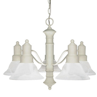 (5 Light) Chandelier - Textured White / Alabaster Glass Bell Shades - Nuvo Lighting 60-195