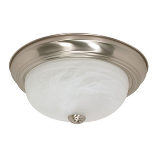(2 Light) Flush Mount Ceiling Fixture - Brushed Nickel / Alabaster Glass - Nuvo Lighting 60-197