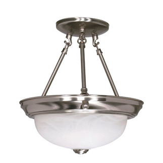 (2 Light) Semi-Flush Ceiling Fixture - Brushed Nickel / Alabaster Glass - Nuvo Lighting 60-200