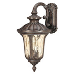 (3 Light) (Arm Up) Large Wall Lantern - Fruitwood / Amber Water Glass - Nuvo Lighting 60-2001