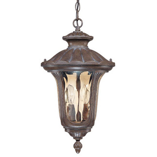 (2 Light) Hanging Lantern - Fruitwood / Amber Water Glass - Nuvo Lighting 60-2008
