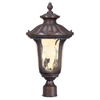 (2 Light) Mid-Size Post Lantern - Fruitwood / Amber Water Glass - Nuvo Lighting 60-2009 - Residential Light Fixture
