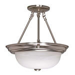 (2 Light) Semi-Flush Ceiling Fixture - Brushed Nickel / Alabaster Glass - Nuvo Lighting 60-201