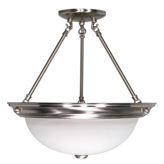 (3 Light) Semi-Flush Ceiling Fixture - Brushed Nickel / Alabaster Glass - Nuvo Lighting 60-202