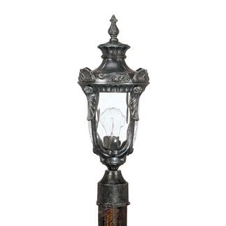 (1 Light) Mid-Size Post Lantern - Greystone / Clear Water Glass - Nuvo Lighting 60-2026 - Residential Light Fixture