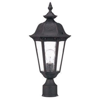 (1 Light) Mid-Size Post Lantern - Satin Iron Ore / Seeded Glass - Nuvo Lighting 60-2039