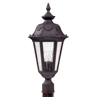 (3 Light) Large Post Lantern - Satin Iron Ore / Seeded Glass - Nuvo Lighting 60-2040 - Residential Light Fixture
