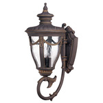 (3 Light) (Arm Up) Large Wall Lantern - Belgium Bronze / Seeded Glass - Nuvo Lighting 60-2041