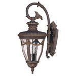 (3 Light) (Arm Down) Large Wall Lantern - Belgium Bronze / Seeded Glass - Nuvo Lighting 60-2042
