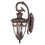 (2 Light) (Arm Down) Mid-Size Wall Lamp - Belgium Bronze / Seeded Glass - Nuvo Lighting 60-2044