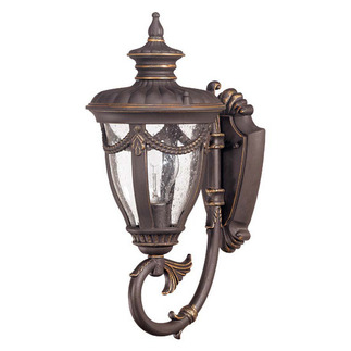 (1 Light) (Arm Up) Small Wall Lantern - Belgium Bronze / Seeded Glass - Nuvo Lighting 60-2045