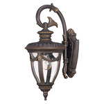 (1 Light) (Arm Down) Small Wall Lantern - Belgium Bronze / Seeded Glass - Nuvo Lighting 60-2046