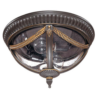 (2 Light) Flush Dome - Belgium Bronze / Seeded Glass - Nuvo Lighting 60-2047