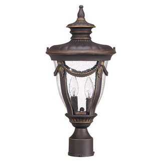 (2 Light) Mid-Size Post Lantern - Belgium Bronze / Seeded Glass - Nuvo Lighting 60-2049