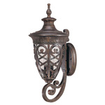 (3 Light) (Arm Up) Large Wall Lantern - Dark Plum Bronze / Seeded Glass - Nuvo Lighting 60-2051