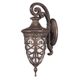 (1 Light) (Arm Down) Small Wall Lantern - Dark Plum Bronze / Seeded Glass - Nuvo Lighting 60-2056 - Residential Light Fixture