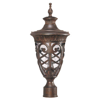 (1 Light) Mid-Size Post Lantern - Dark Plum Bronze / Seeded Glass - Nuvo Lighting 60-2059