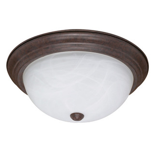 (2 Light) Flush Mount Ceiling Fixture - Old Bronze / Alabaster Glass - Nuvo Lighting 60-206