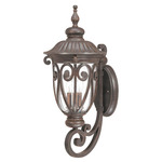 (3 Light) (Arm Up) Large Wall Lantern - Burlwood / Seeded Glass - Nuvo Lighting 60-2061