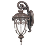 (1 Light) (Arm Down) Small Wall Lantern - Burlwood / Seeded Glass - Nuvo Lighting 60-2066