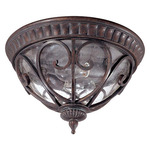 (2 Light) Flush Dome - Burlwood / Seeded Glass - Nuvo Lighting 60-2067