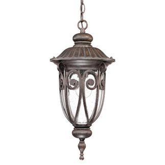 (1 Light) Hanging Lantern - Burlwood / Seeded Glass - Nuvo Lighting 60-2068 - Residential Light Fixture