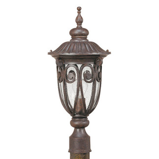 (1 Light) Mid-Size Post Lantern - Burlwood / Seeded Glass - Nuvo Lighting 60-2069