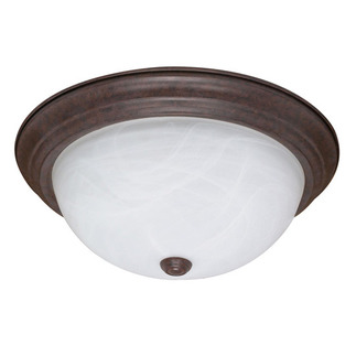 (3 Light) Flush Mount Ceiling Fixture - Old Bronze / Alabaster Glass - Nuvo Lighting 60-207