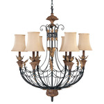 (6 Light) Chandelier - Gilded Cage / Fabric Shade - Nuvo Lighting 60-2102