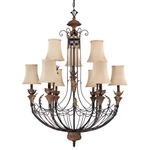 (9 Light) Chandelier - Gilded Cage / Fabric Shade - Nuvo Lighting 60-2103